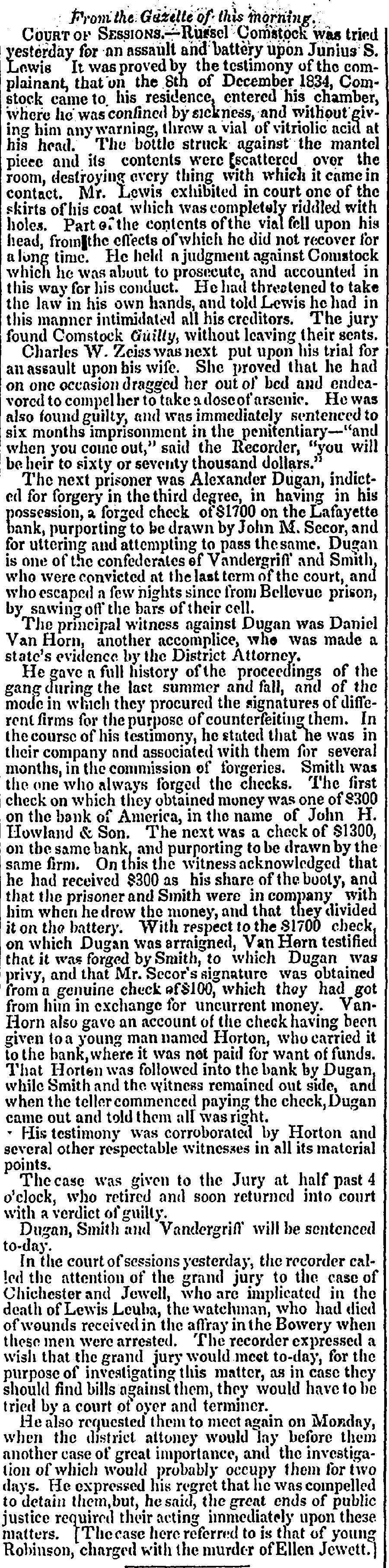 1836.4.16. Chichister Case / Hellen Jewett Case tried same day / court.