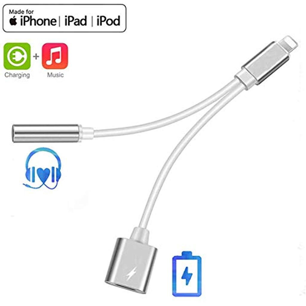Headphone Adaptor for iPhone 7 Adaptor to 3.5mm Earphone Adaptor for iPhone 7//7 Plus 8//8Plus X//XS Accessories Headphone Cable Splitter Audio Jack Headphone Cable Earbud Adapter Support iOS 12