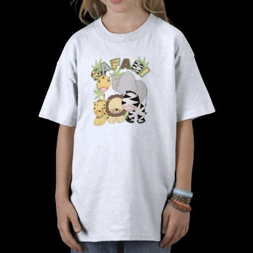 cute childrens tshirt with safari jungle animals