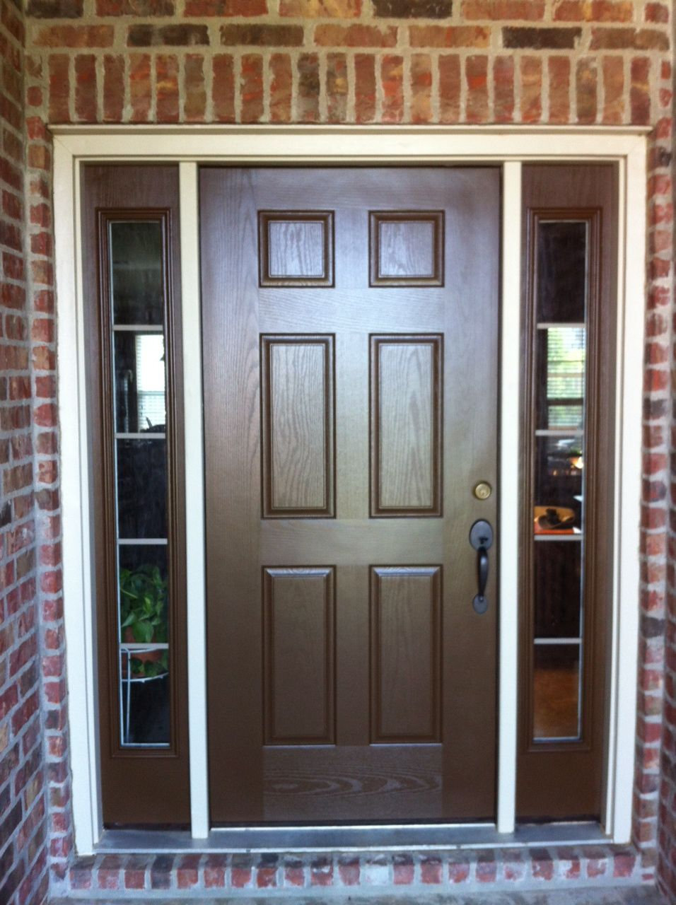 Doors with sidelights home exterior painting brown for Exterior side entry doors