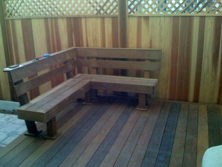 Built In Deck Benches Designs Ipe Deck Bench By