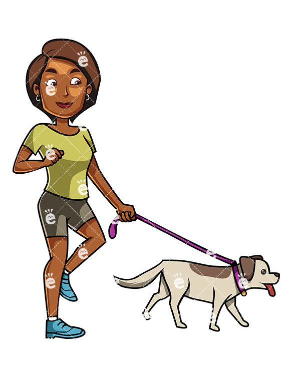 A Content Black Woman Happily Walking Her Dog On A Leash Cartoon