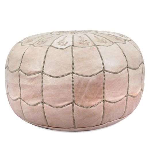 Ikram Design Moroccan Scalloped Leather Pouf Ottoman