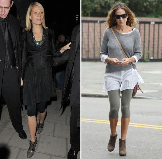 Our answer? Um, yes!! Absolutely girls! This look is hot. Sarah Jessica Parker Wearing Leggings With Heels