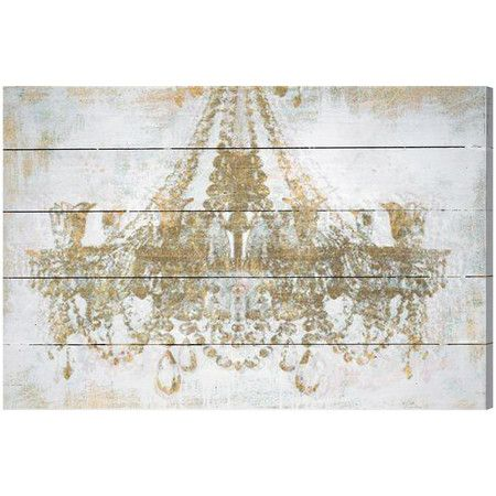 Showcasing a weathered finish and gold hued chandelier print this vintage style wood wall decor is perfect paired with faux animal trophies and brass