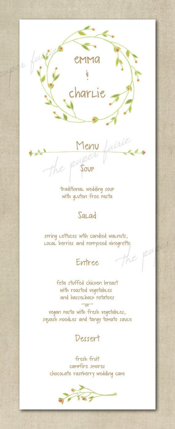 Wedding Menu - Vintage, Floral, Simple, Boho, Shabby Chic ...
