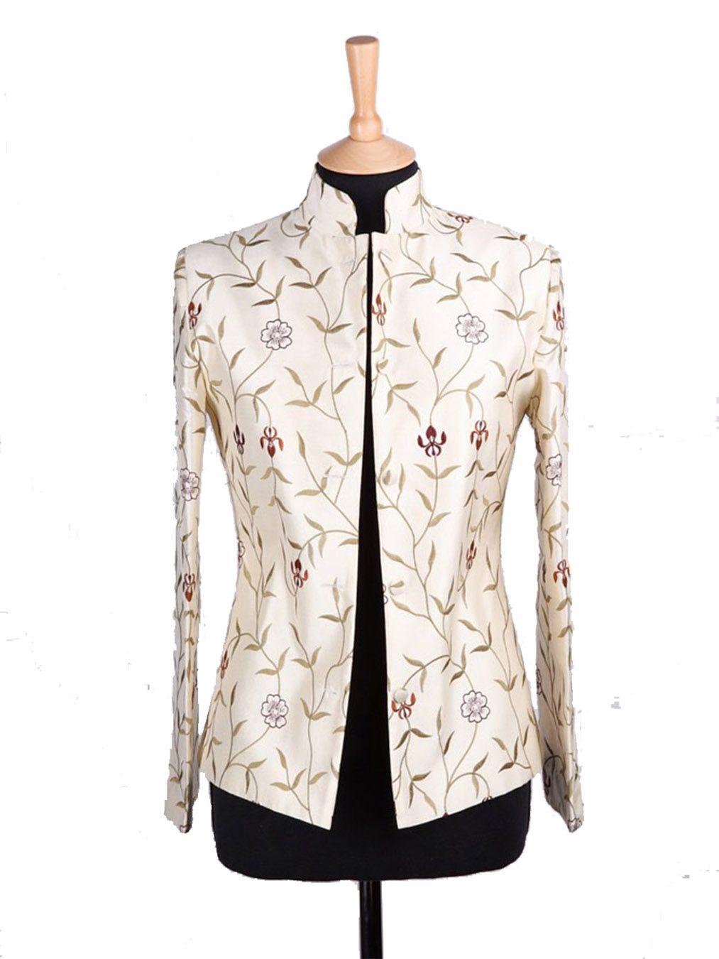 Short Nehru Jacket in Ivory | Silk jacket, Jackets, Nehru jackets