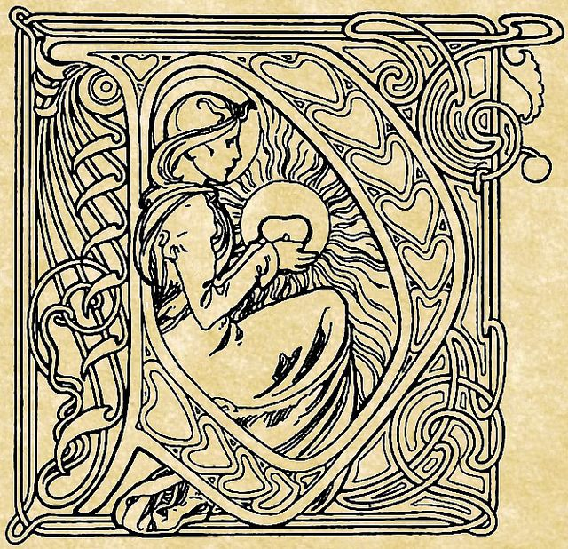 Initial d by mucha from le pater our father 1889 alphonse mucha the commons getty collection galleries world map would love to embroider gumiabroncs Images