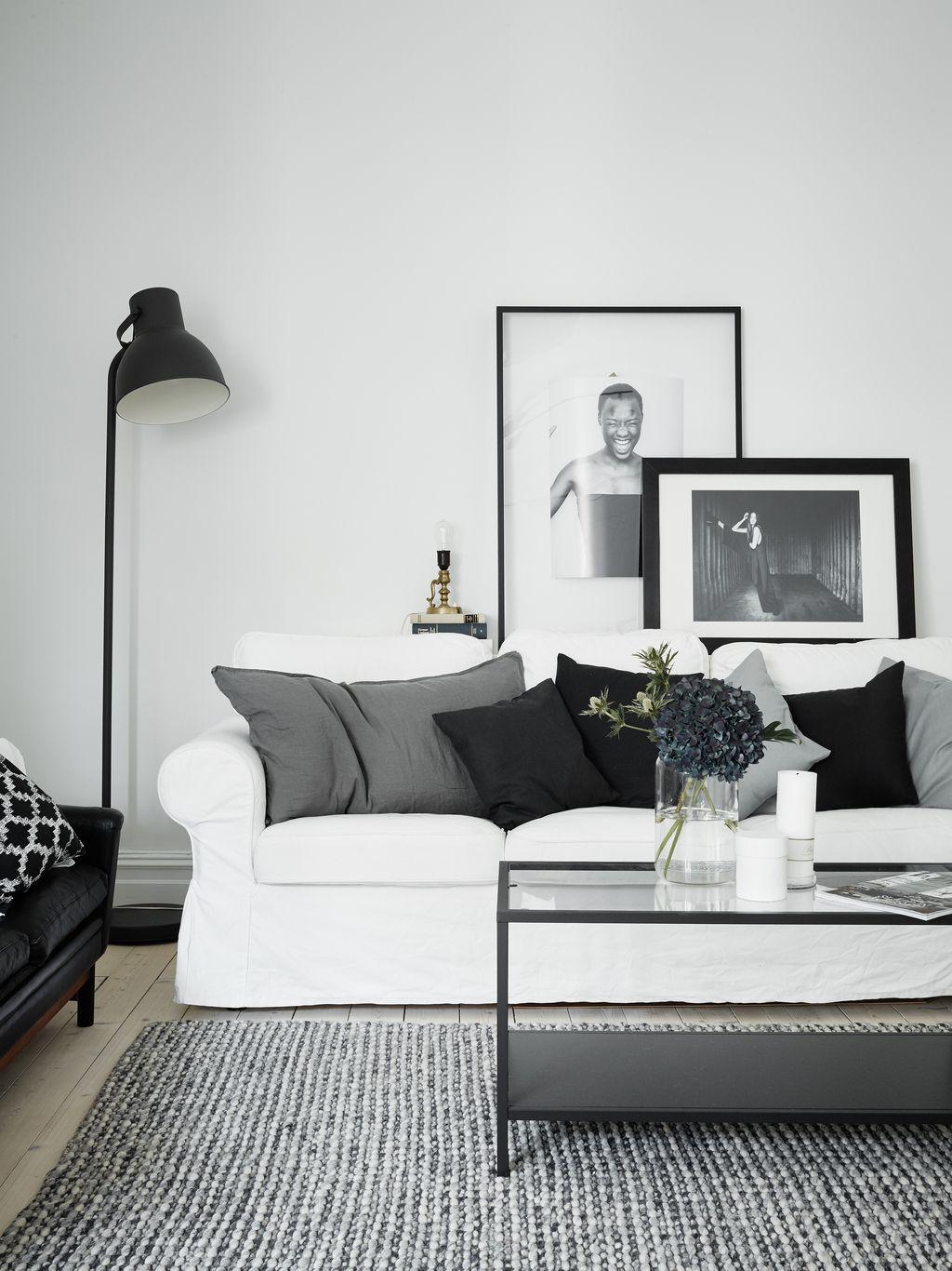 Shop the look: woonkamer in zwart, wit en grijstinten ...