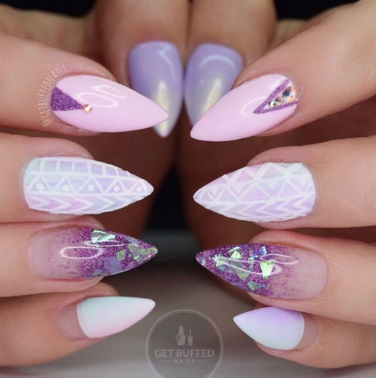 Stiletto Nails Spring Nails Lilac Nails Pink Nails Pastel Colors Acrylic Nails Lilac Nails Purple Stiletto Nails Almond Acrylic Nails