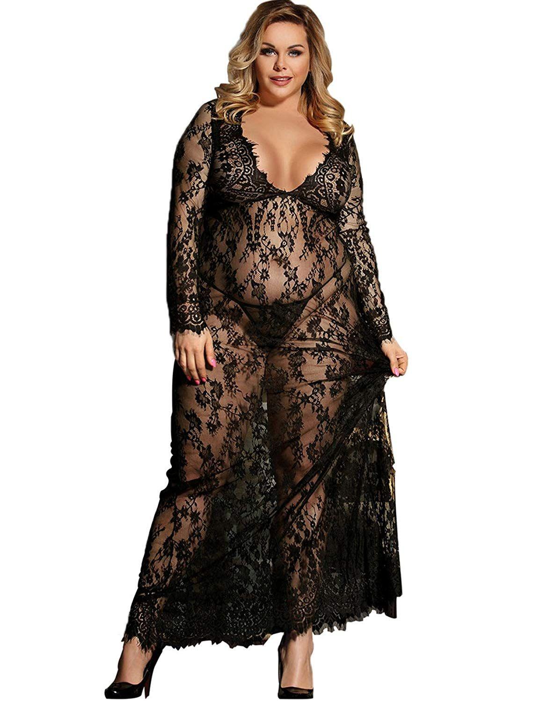 9efaca164 Dean Fast Women Plus Size Floral Lace Nightgown Long Lingerie Sleepwear  Chemise- Women Plus Size Women Lace Lingerie Set Sleepwear Wrap Sexy  Transparent ...