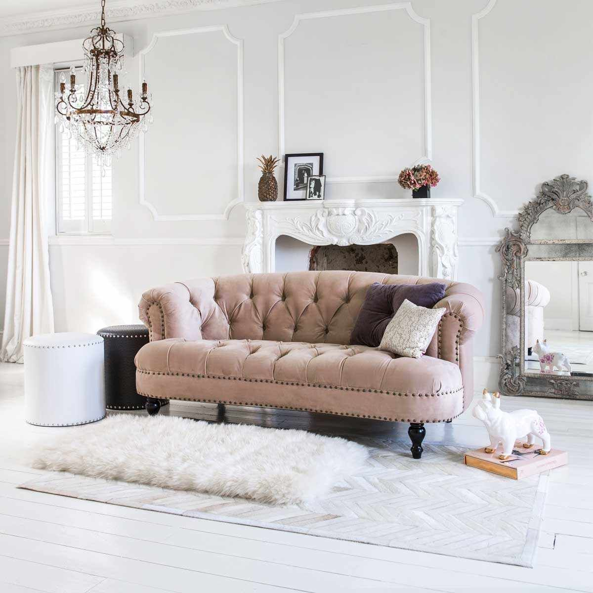Studded Stool In Grey Faux Leather Footstool Shabby Chic Lounge Pink Velvet Sofa Luxury Sofa