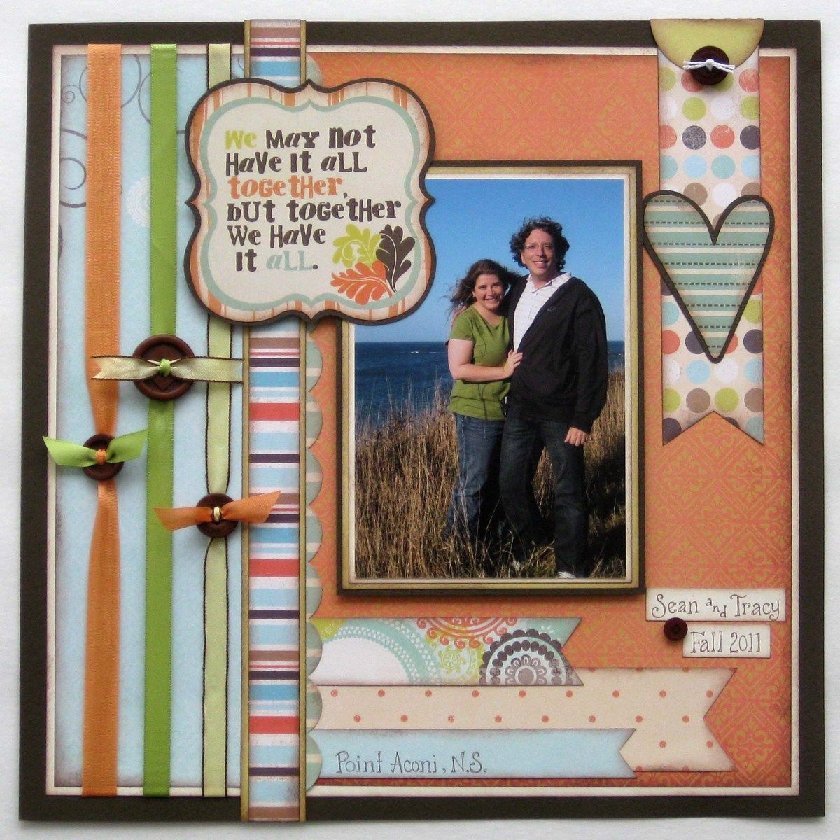 Scrapbook Page Layouts Family Brown Button Border Layout | crafts