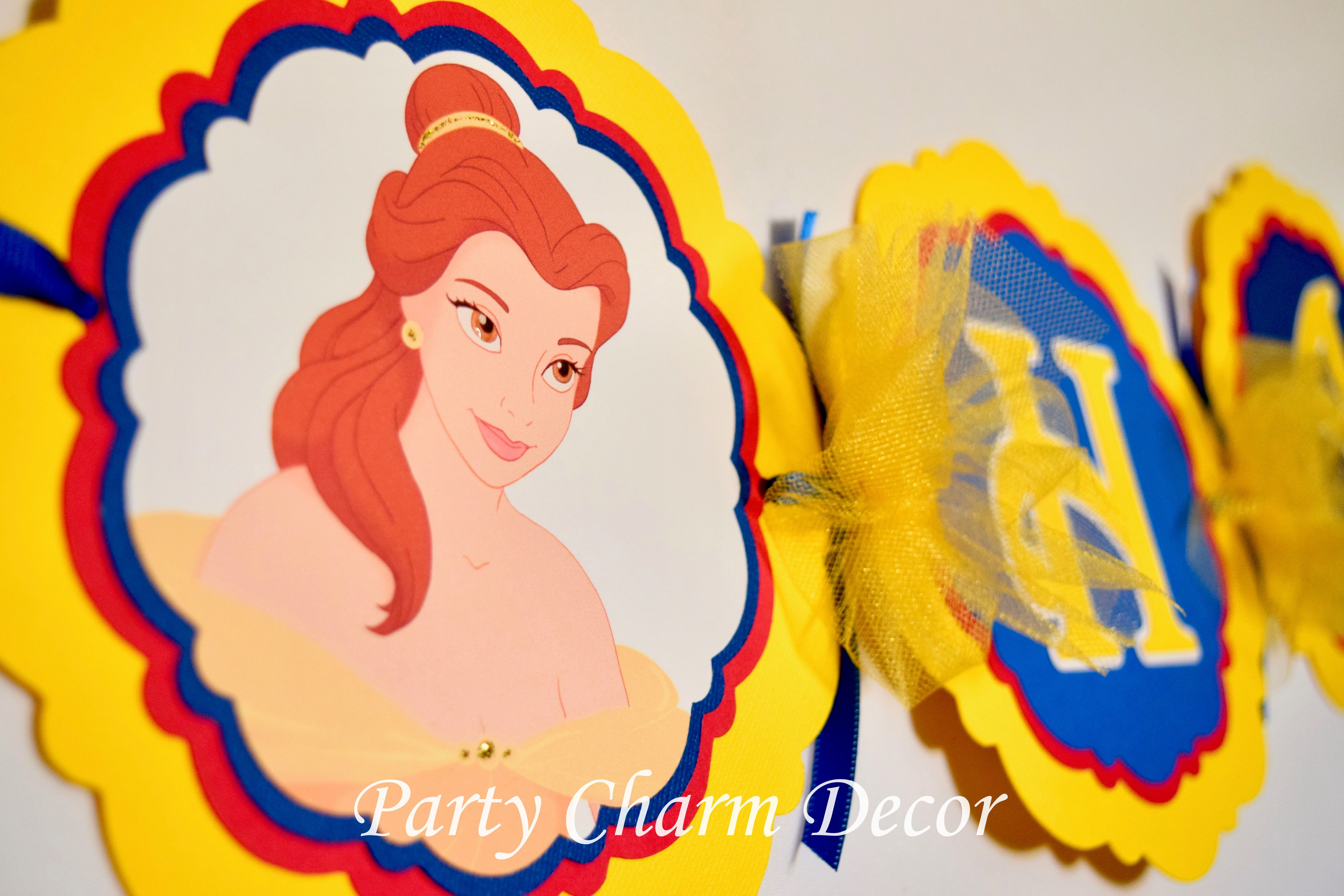 Beauty and the Beast Birthday Banner, Princess Belle Banner, Beauty ...