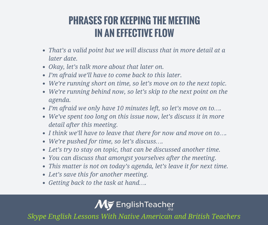 Phrases For Keeping The Meeting In An Effective Flow  Business