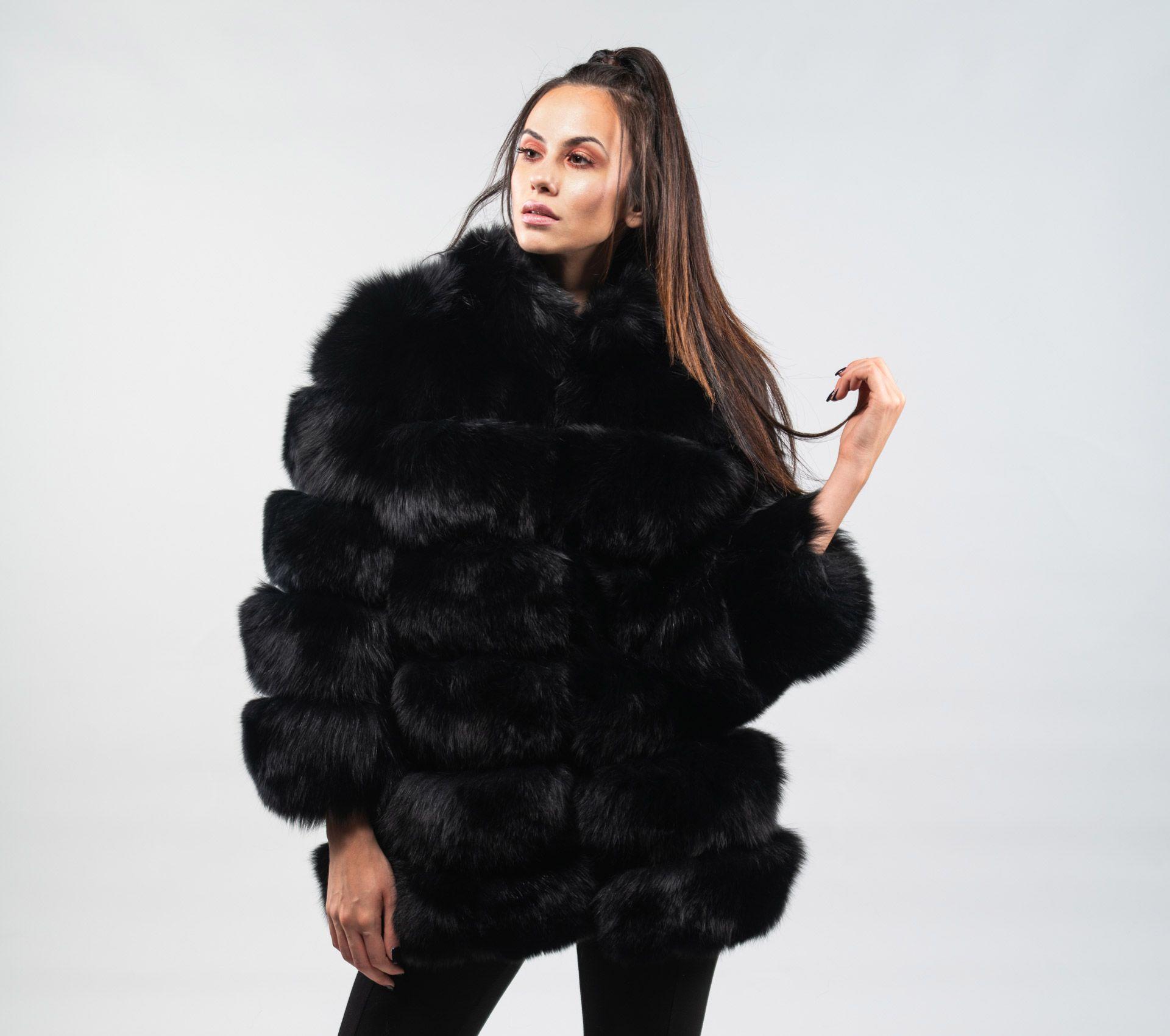 f3e8bfe01a Black Fox Fur Jacket With 7/8 Sleeves | Fur coats 9 | Fox fur jacket ...