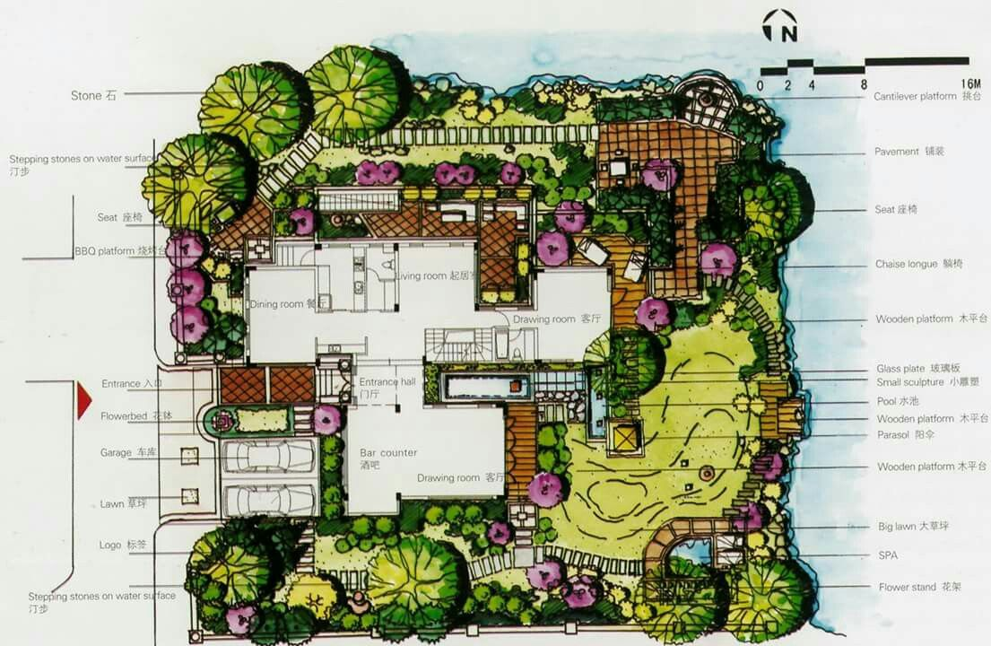 Love The Scattering Of Trees And Shrubs Around The Property Landscape Plans Landscape Design Drawings Landscape Design Plans