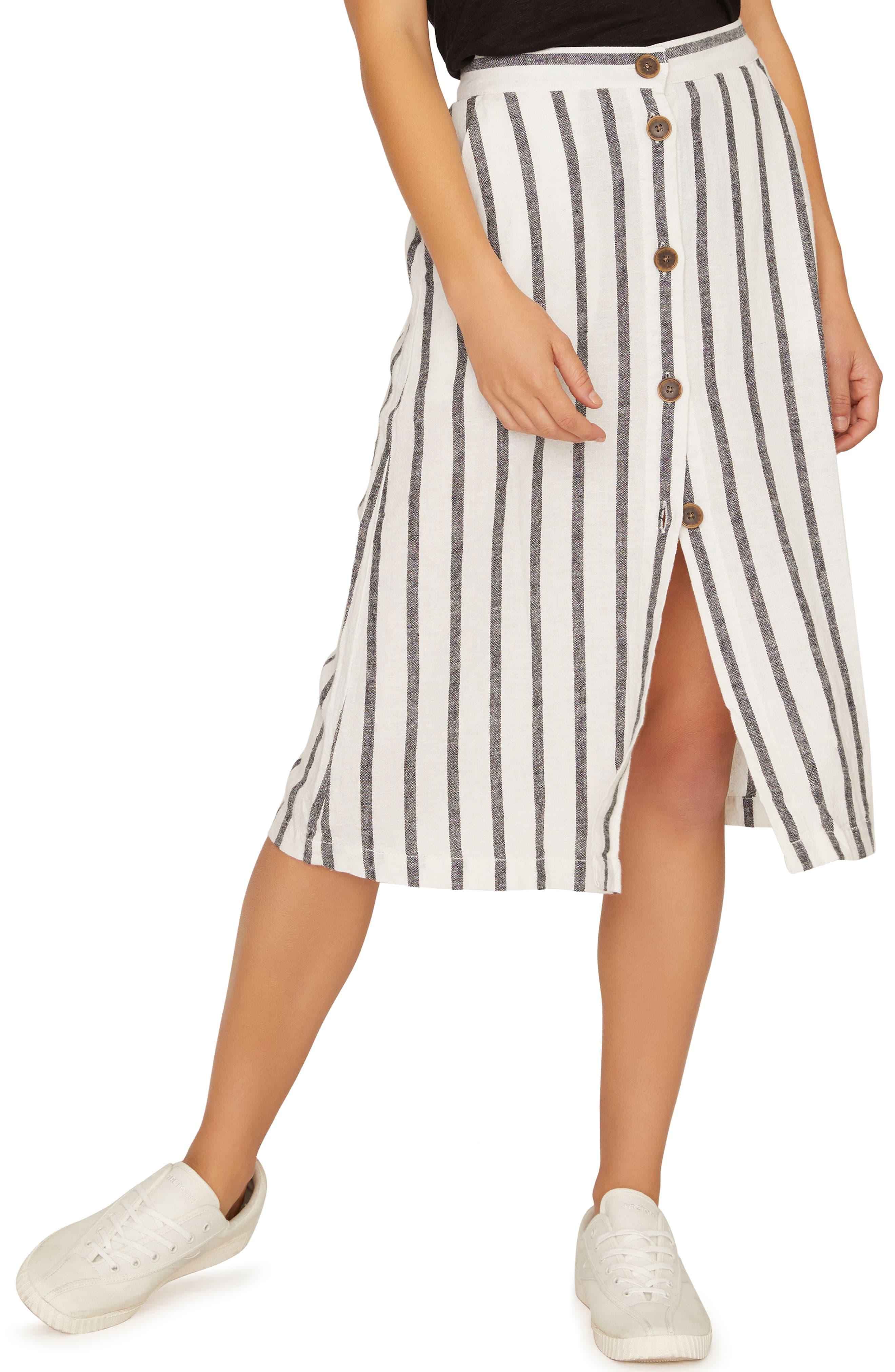 Womens Stripe Cotton Paperbag Waist Midi Skirt