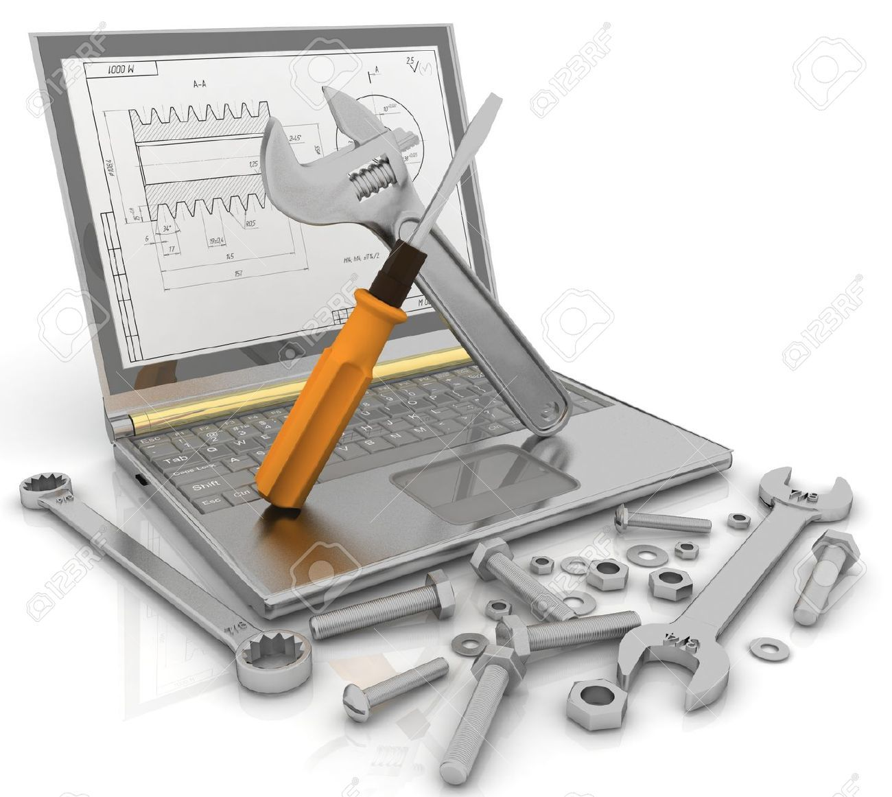 Ilustraciones vectoriales de técnico de computadores