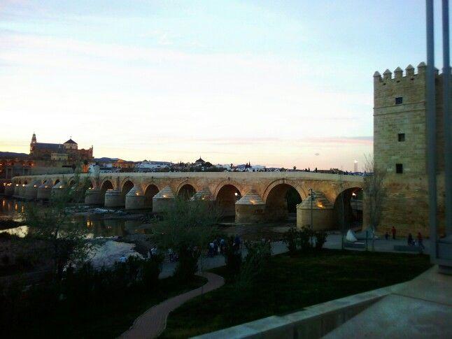 Cordoba, España. Vista de la Mezquita y puente romano
