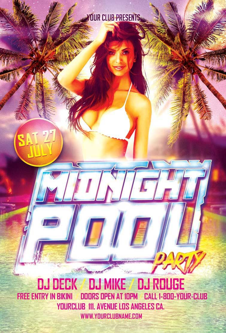 Midnight Pool Party Flyer Template  HttpFreepsdflyerCom