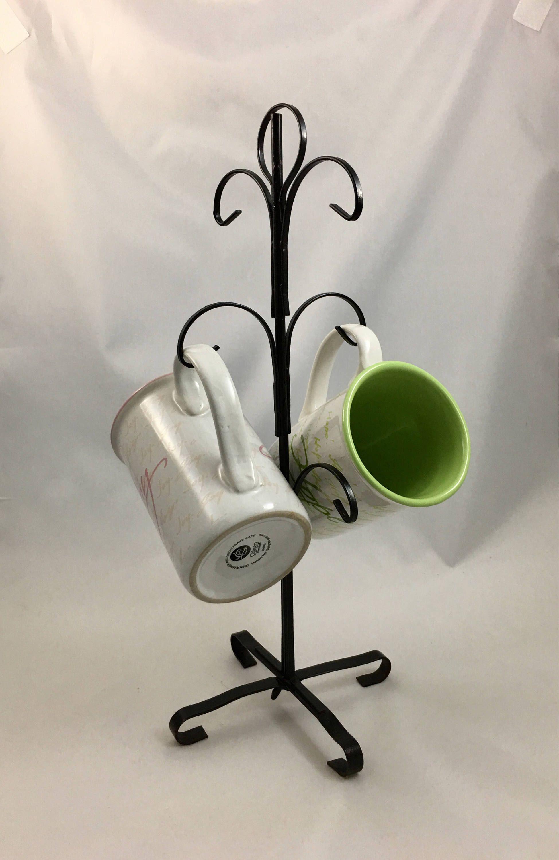 Vintage Black Metal Coffee Mug Tree Country Kitchen 6 Cup Display Holder