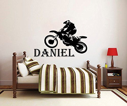 Wall Decals Custom Personalized Name Children Gift Motocross - Motorcycle custom stickers and decals uk