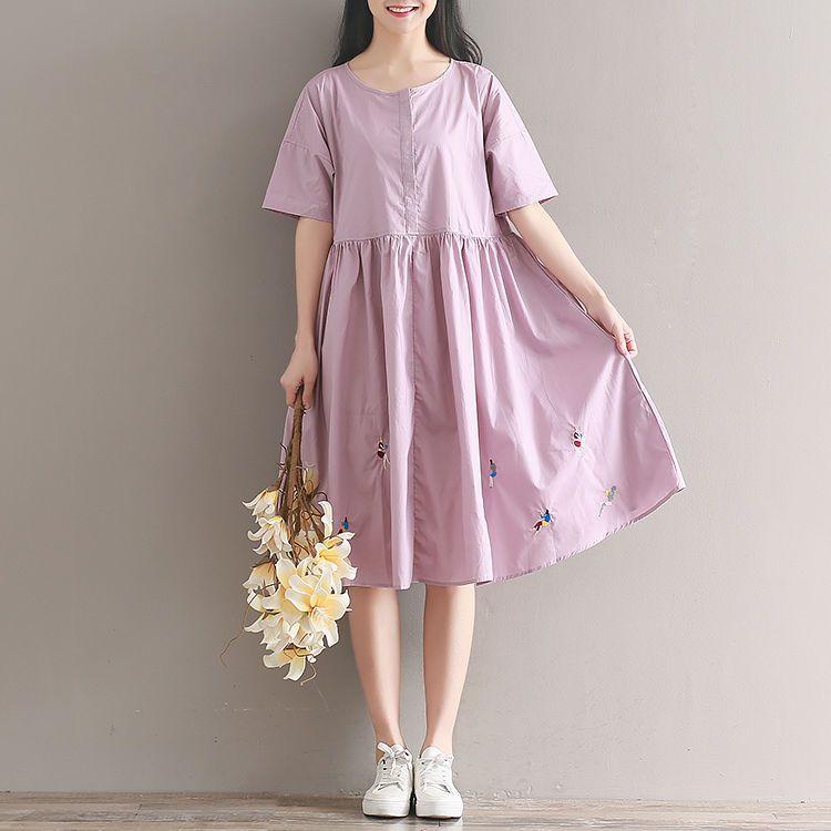 Women Loose Fit Over Plus Size Pastel Purple Girl Feature Embroidered Dress Model Pakaian Gaya Model Pakaian Adibusana