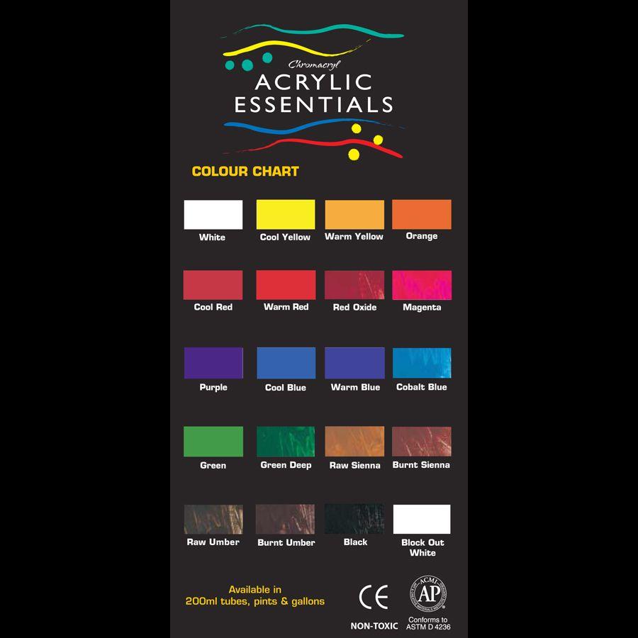 Chromacryl Acrylic Essentials Color Chart | Color Charts | Pinterest
