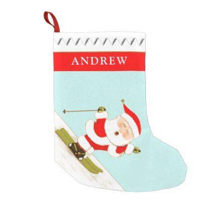 snow skiing small christmas stocking - home gifts cool custom diy cyo