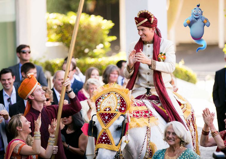 The Baraat Is The Groom S Grand Arrival At The Wedding Ceremony Traditionally On Horseback Acco Indian Wedding Ceremony Indian Wedding Flowers Indian Wedding