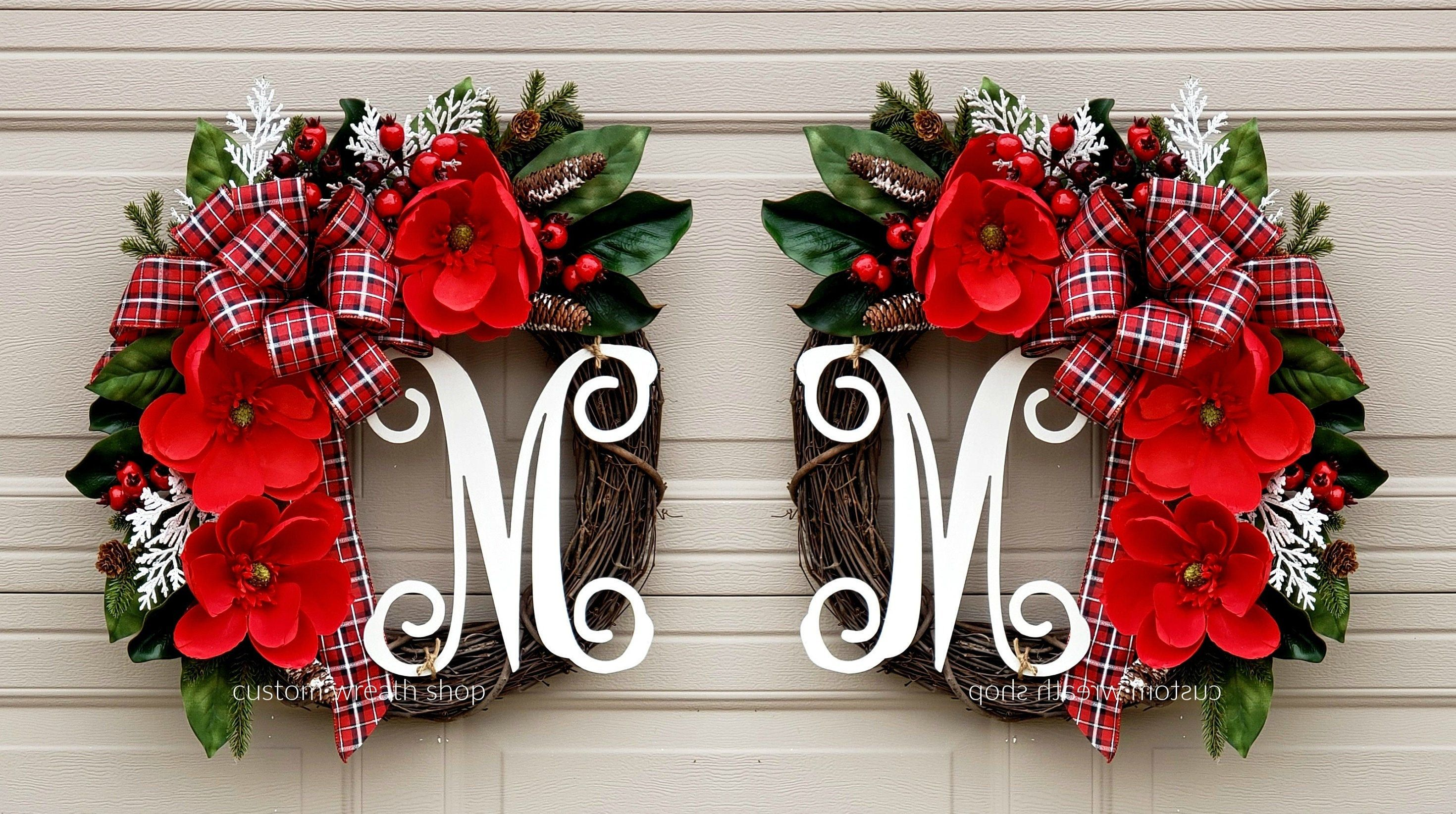 Photo of Christmas Wreath, Double Doors Wreaths, Red Magnolia Wreath, Holiday Decor, Winter Wreaths For Door, Wreath With Initial, Christmas Gift