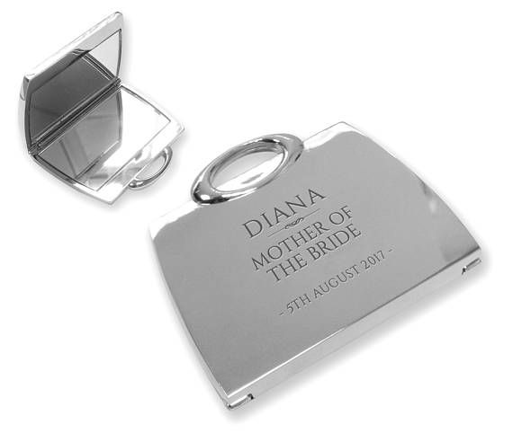 Personalised engraved MOTHER of the BRIDE compact mirror