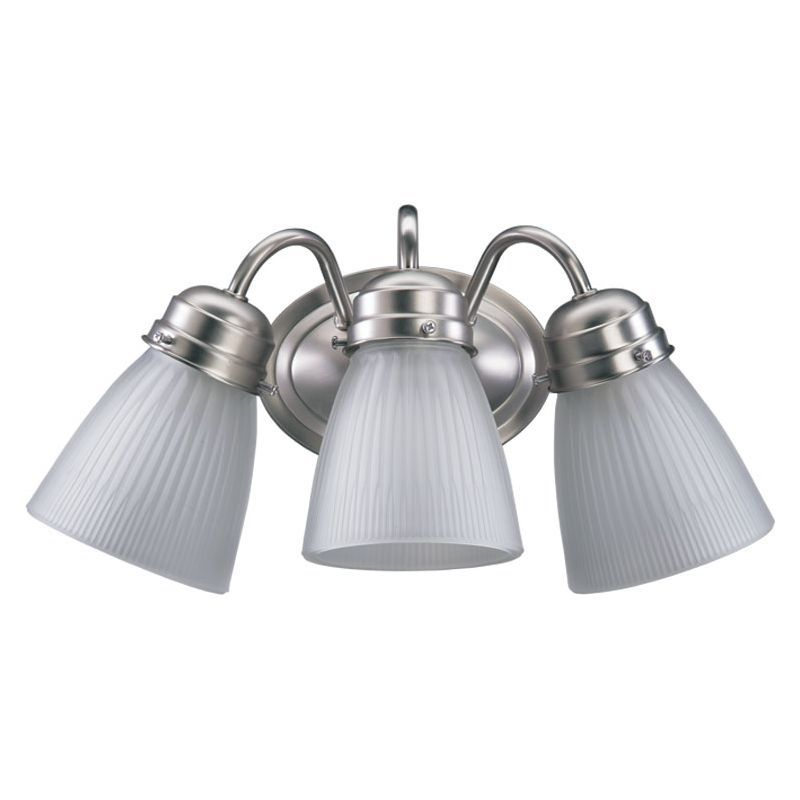 Photo of Quorum International 5403-3-165 Satin Nickel 3 Light Bathroom Vanity Light with Frosted Glass Bell Shade