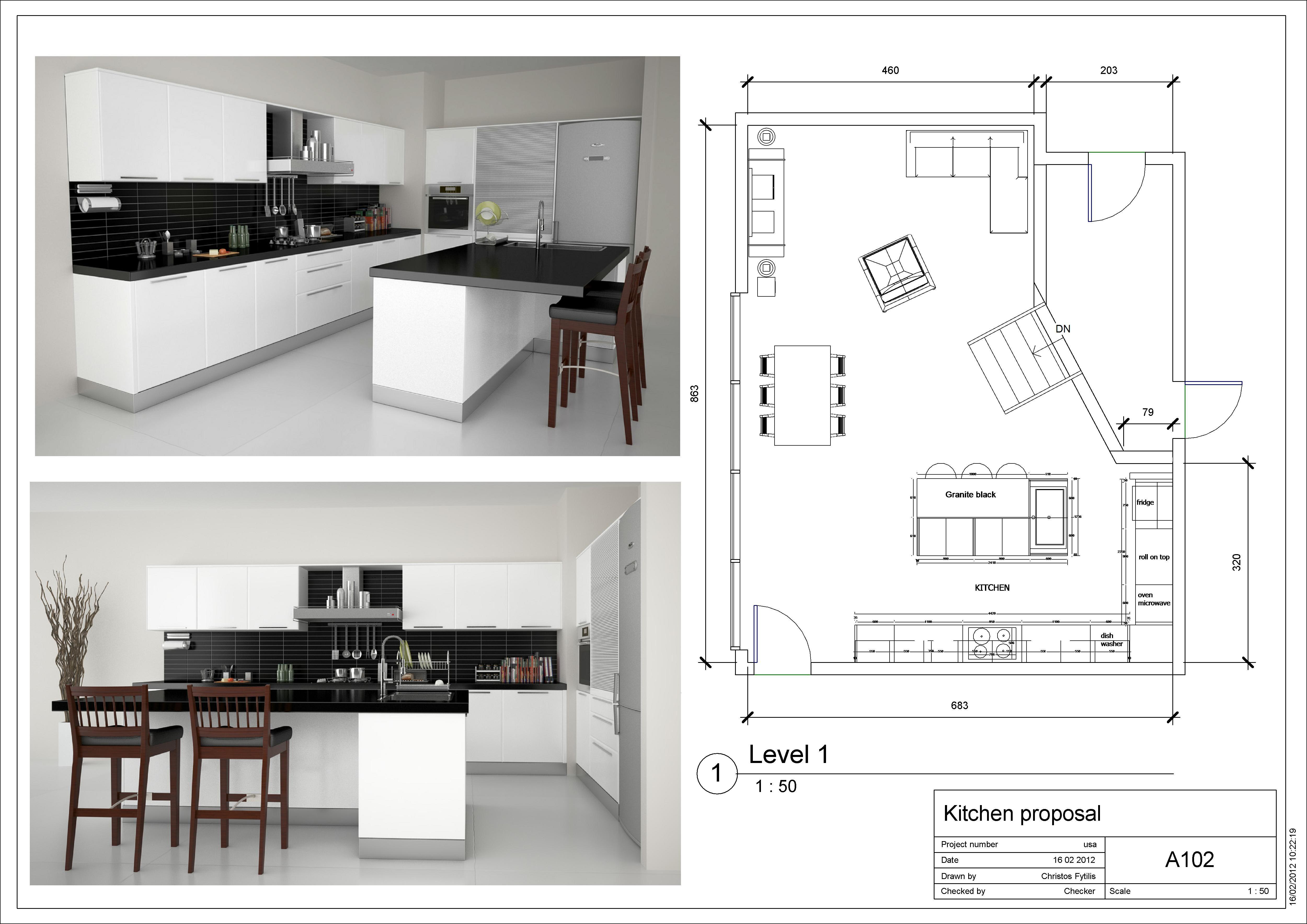Kitchen With Island Floor Plans Galley Open Remodel Plan Living Desain Rumah Rumah Interior