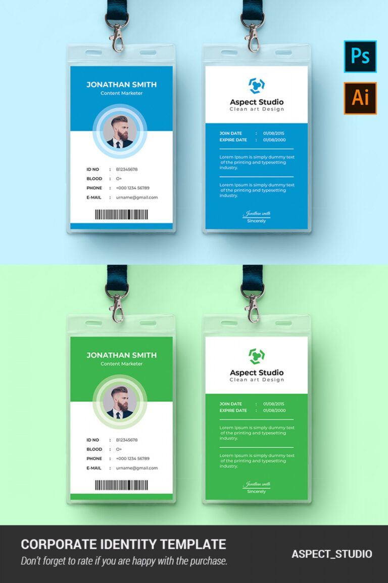 001 Employee Id Card Template Ai Free Download Ideas Blue Pertaining To Id Card Template Ai Employee Id Card Id Card Template Card Template
