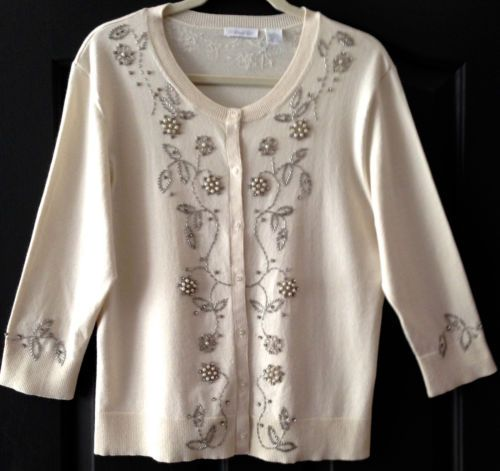 $20.00 VINTAGE-INSPIRED-BEADED-EMBROIDERED-WINTER-WHITE-CARDIGAN-SIZE-XL. Cute.