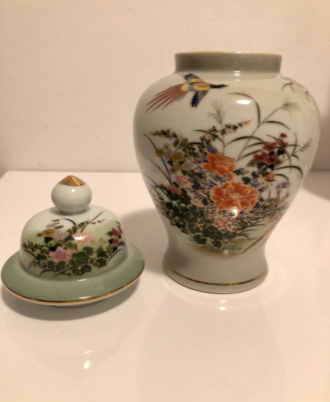 Vintage Japanese Porcelain Handpainted Floral Jar