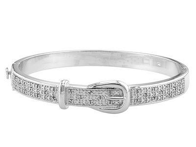 Emulous Tm 25ctw Round Diamond Rhodium Over Br Buckle Bracelet