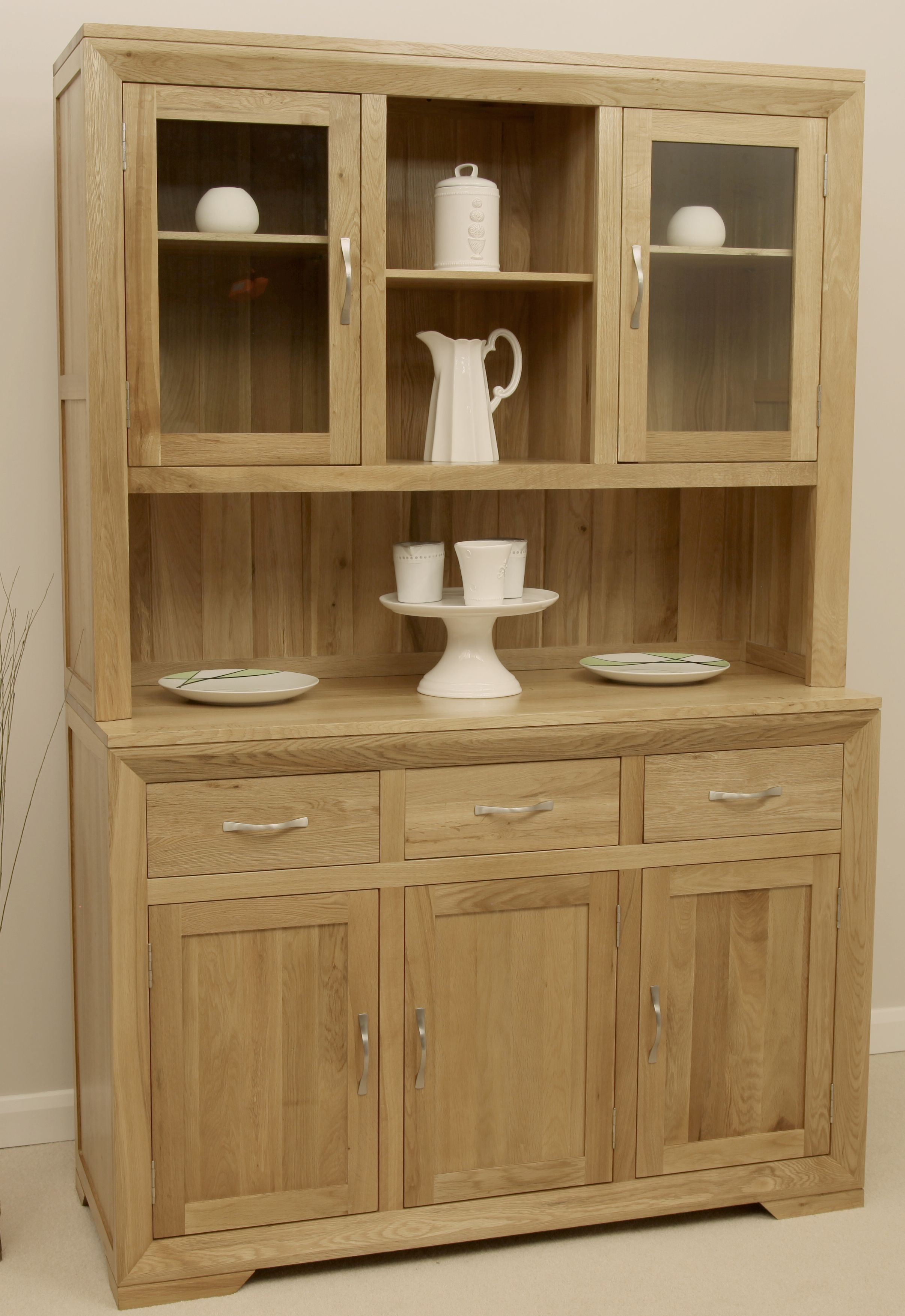 Bevel Solid Oak Range Large Welsh Dresser Oak Furniture Land
