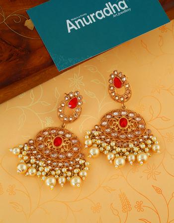 Anuradha Art Golden Finish Studded Peach Colour Stone Fancy Studs Earrings For Women//Girls