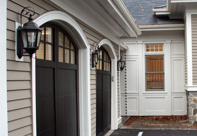 Taupe Siding With Black Shutters And Doors For The Home