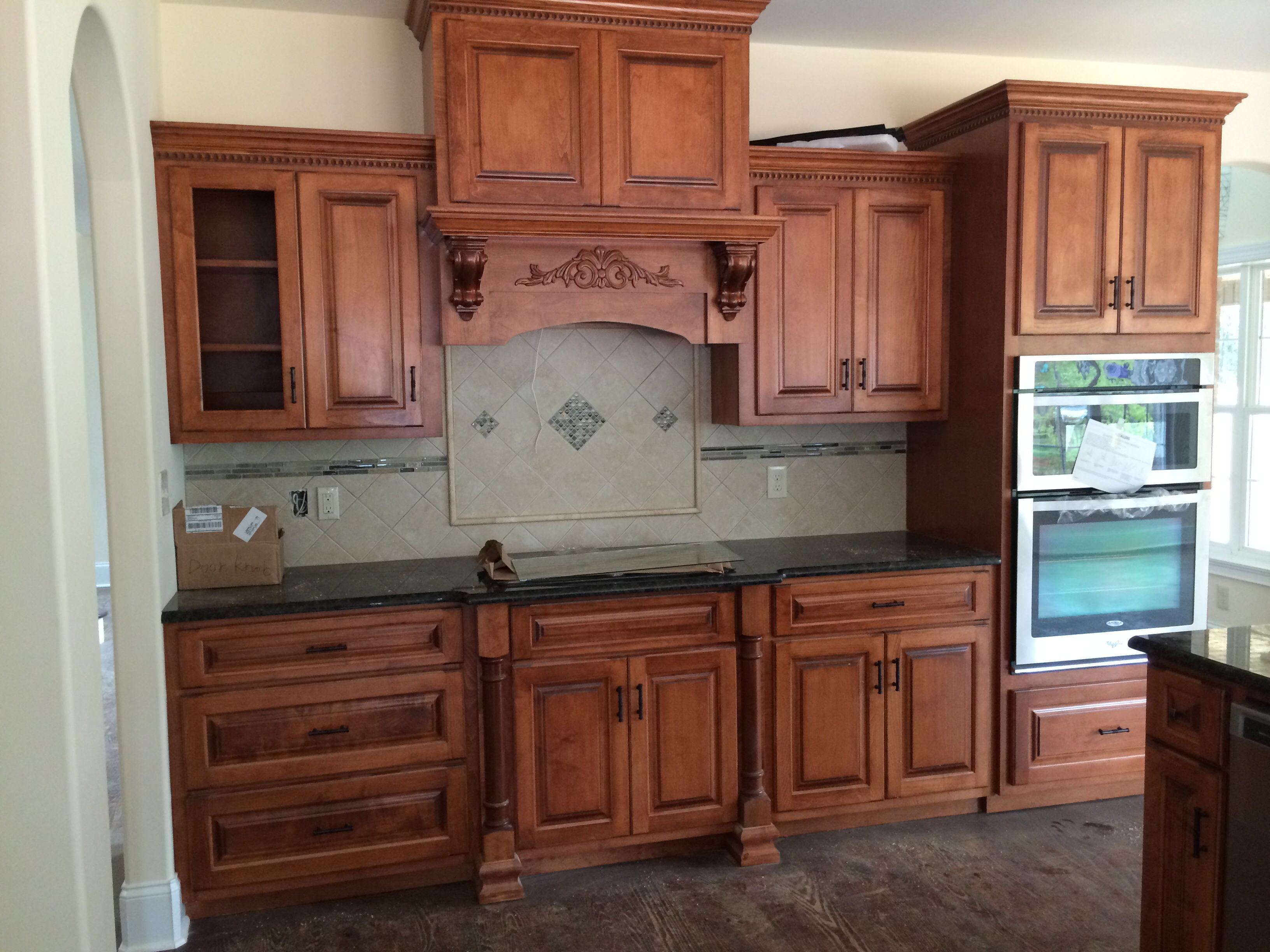 Cinnamon stain with black glaze on maple | Stained kitchen ...