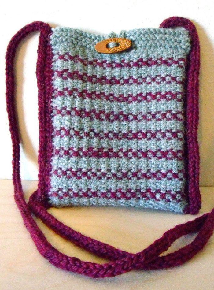Free Knitting Pattern For Simple Linen Stitch Stripes Shoulder Bag