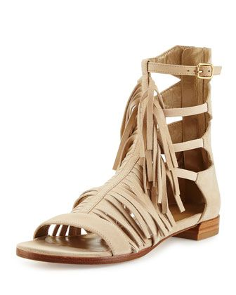 Srgladrags Fringed Suede Sandal, Buff by Stuart Weitzman at Neiman Marcus.
