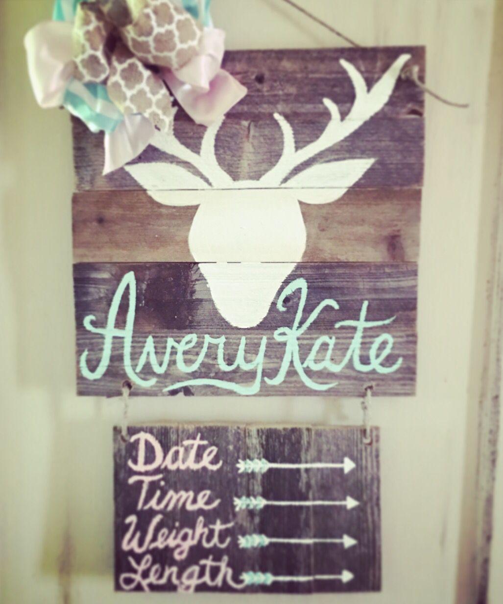 Baby girl deer hospital door hanger we are pregnant
