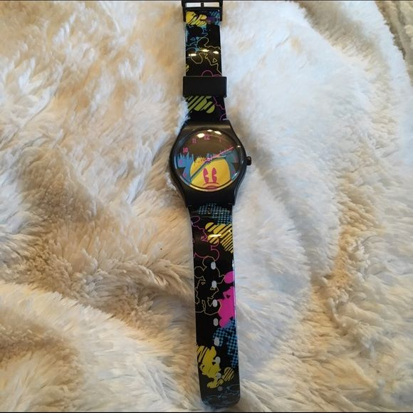 Disney Women's Pop Art Mickey Watch M-I-c-k-e-y M-o-u-s-e!! Disney Women's Pop Art Mickey Black with Yellow, Blue & Pink Accutime Watch. New in box. One size fits most. Disney Accessories Watches