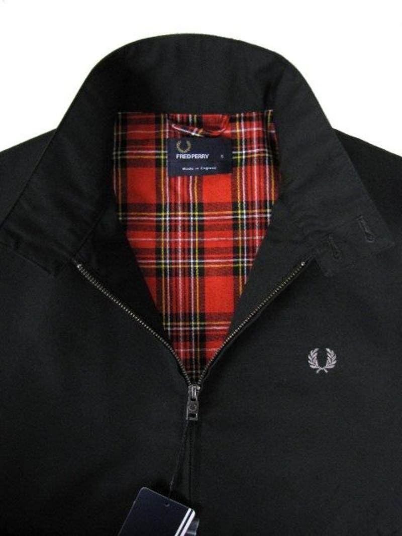 Tartan lined harrington jacket true black