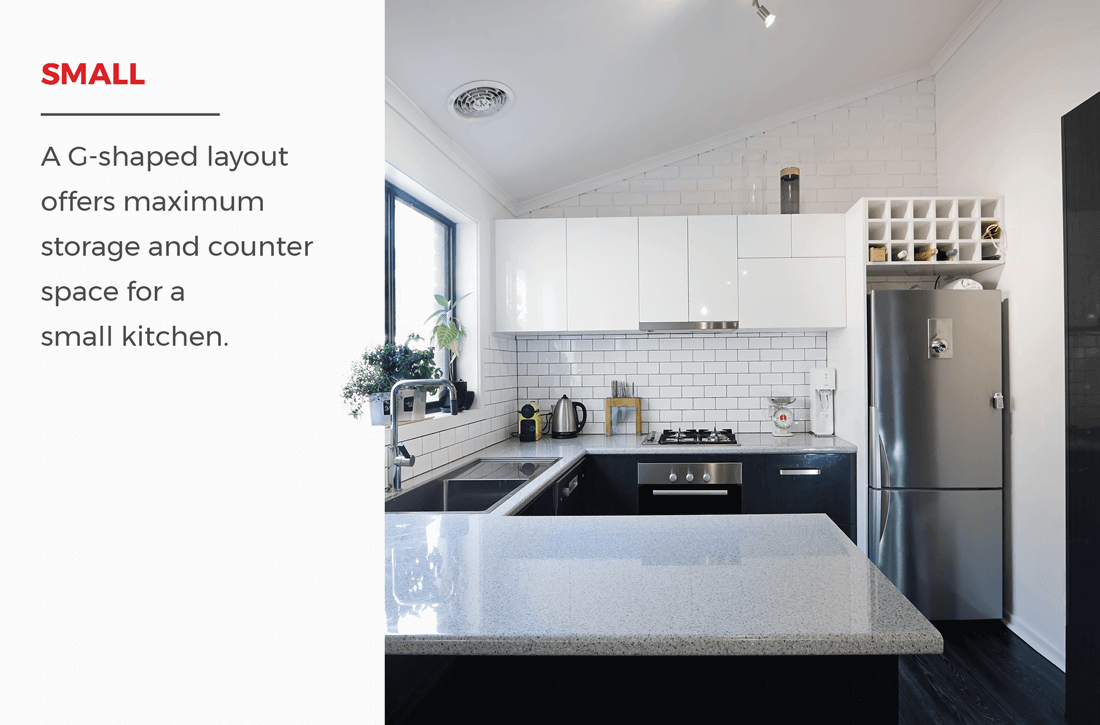 Small G shaped kitchen   This layout depends largely on if you ...