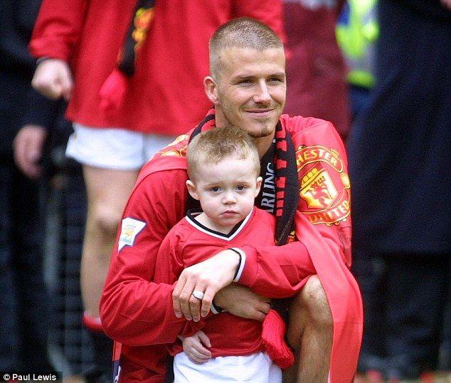 David and Brooklyn Beckham in 2001